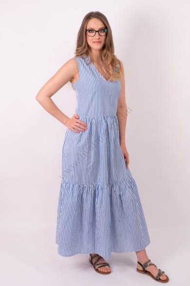 SISTERS POINT női maxi ruha, kellemes fehér, kék színvilággal, EMBRA-DR modell