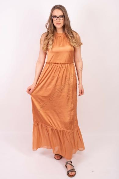 LOVE&DIVINE női maxi ruha, kellemes bronz színvilággal, LOVE351 modell,
