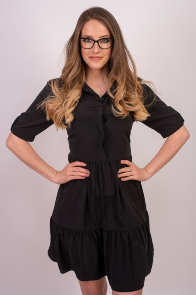 SISTERS POINT női ingruha/tunika, kellemes fekete színvilággal, GLOSS-DR.SS1 modell