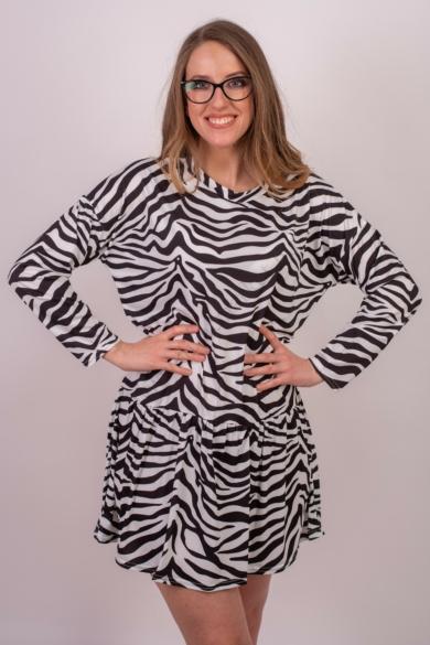 SISTERS POINT női ruha/tunika, kellemes zebra, fekete, krém színvilággal, NUNA-2 modell