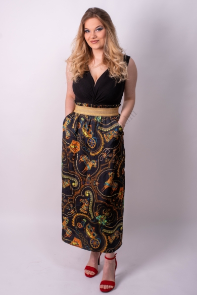 LOVE&DIVINE női maxi szoknya, kellemes mintás színvilággal, LOVE245-1 modell