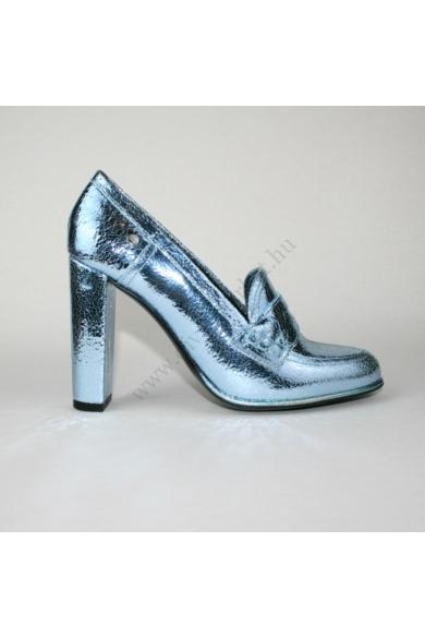 TOMMY HILFIGER női bőr magassarkú cipő-metálkék (több méretben)